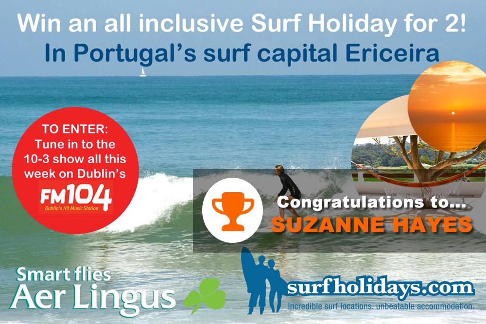 Surfholidays.com competition winner fm104