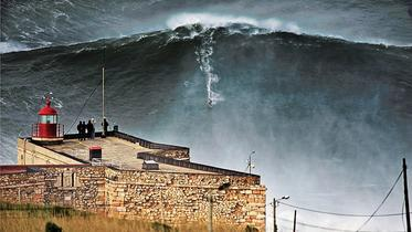 Legendary surf spot Nazaré - the biggest wave ever surfed.